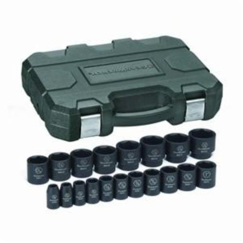 GearWrench® GET IT DONE™ 84932N Impact Socket Set, ASME B107.2, Imperial, 6 Points, 1/2 in Drive, 19 Pieces, Included Socket Size: 3/8 to 1-1/2 in, Blow Mold Case Container