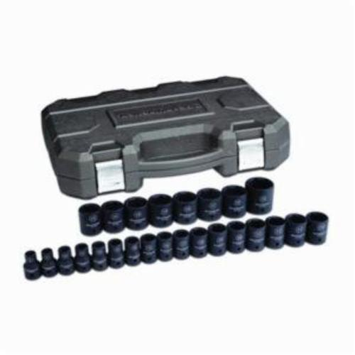 GEARWRENCH® 84933N Impact Socket Set, ASME B107.33M, 6 Points, 1/2 in Drive, 25 Pieces, Included Socket Size: 8 to 36 mm, Blow Mold Case Container