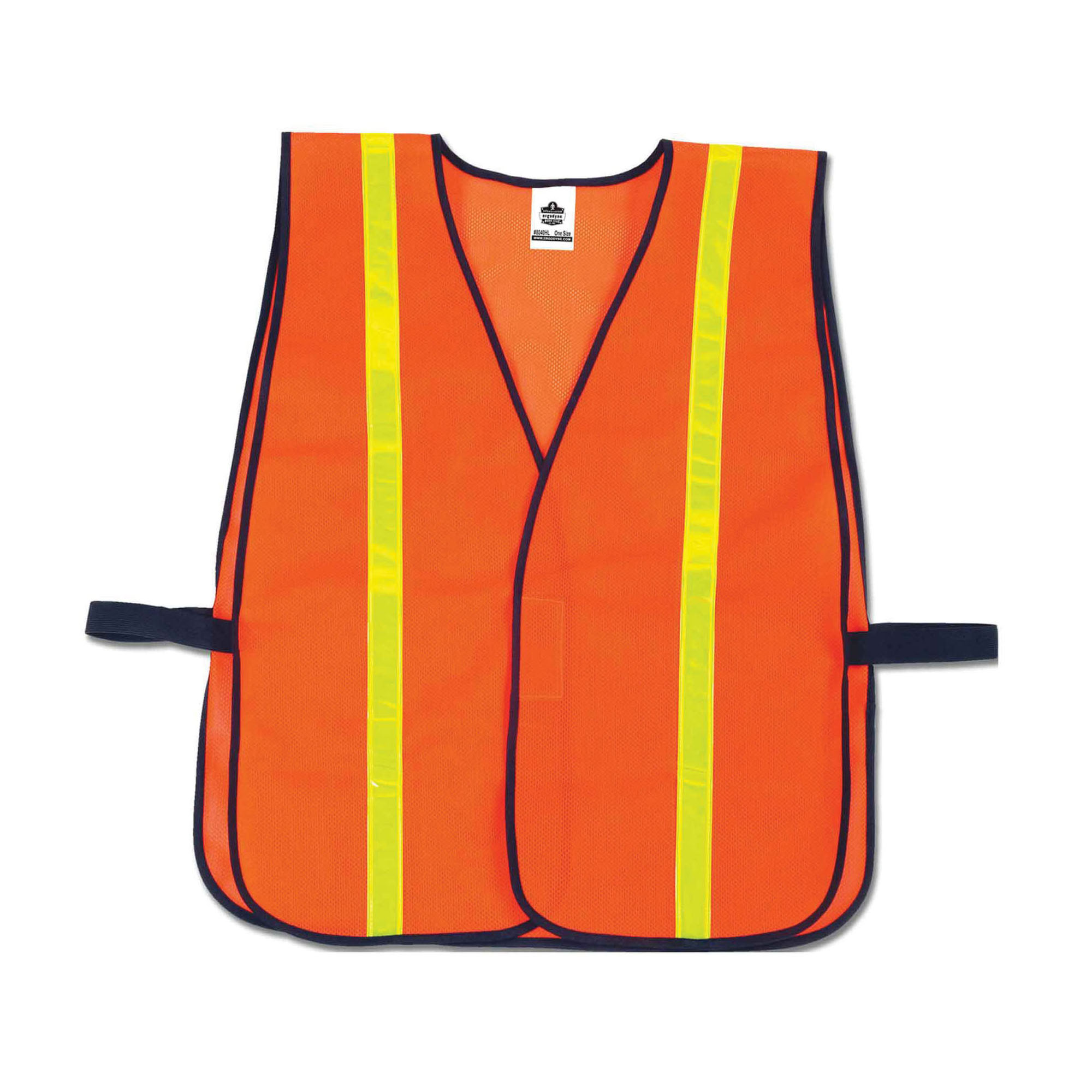 GloWear® 8040HL Non-Certified Safety Vest, Universal, Polyester Mesh, Hook and Loop Closure, Yellow or Orange
