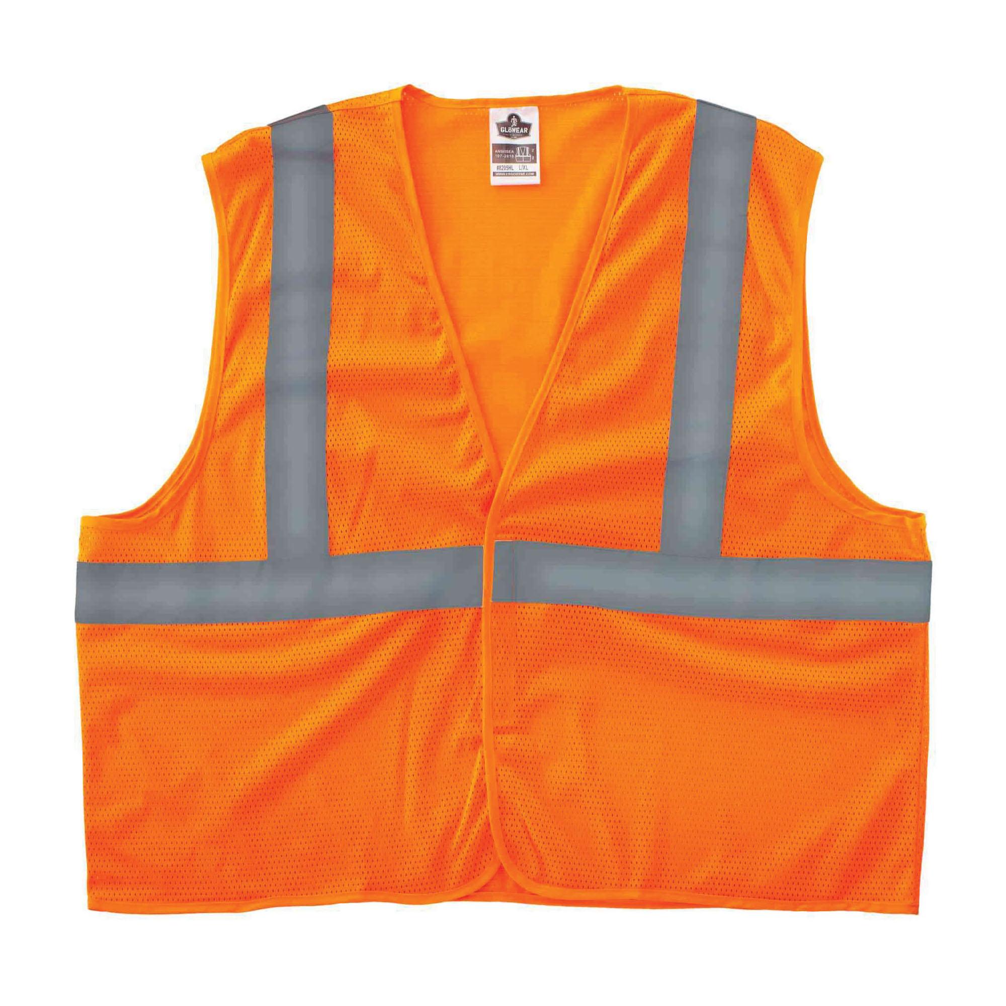 GloWear® 20969 8205HL Super Economy Vest, 4XL/5XL, Orange, Polyester Mesh, Hook and Loop Closure, ANSI Class: Class 2, ANSI/ISEA 107-2015 Type R