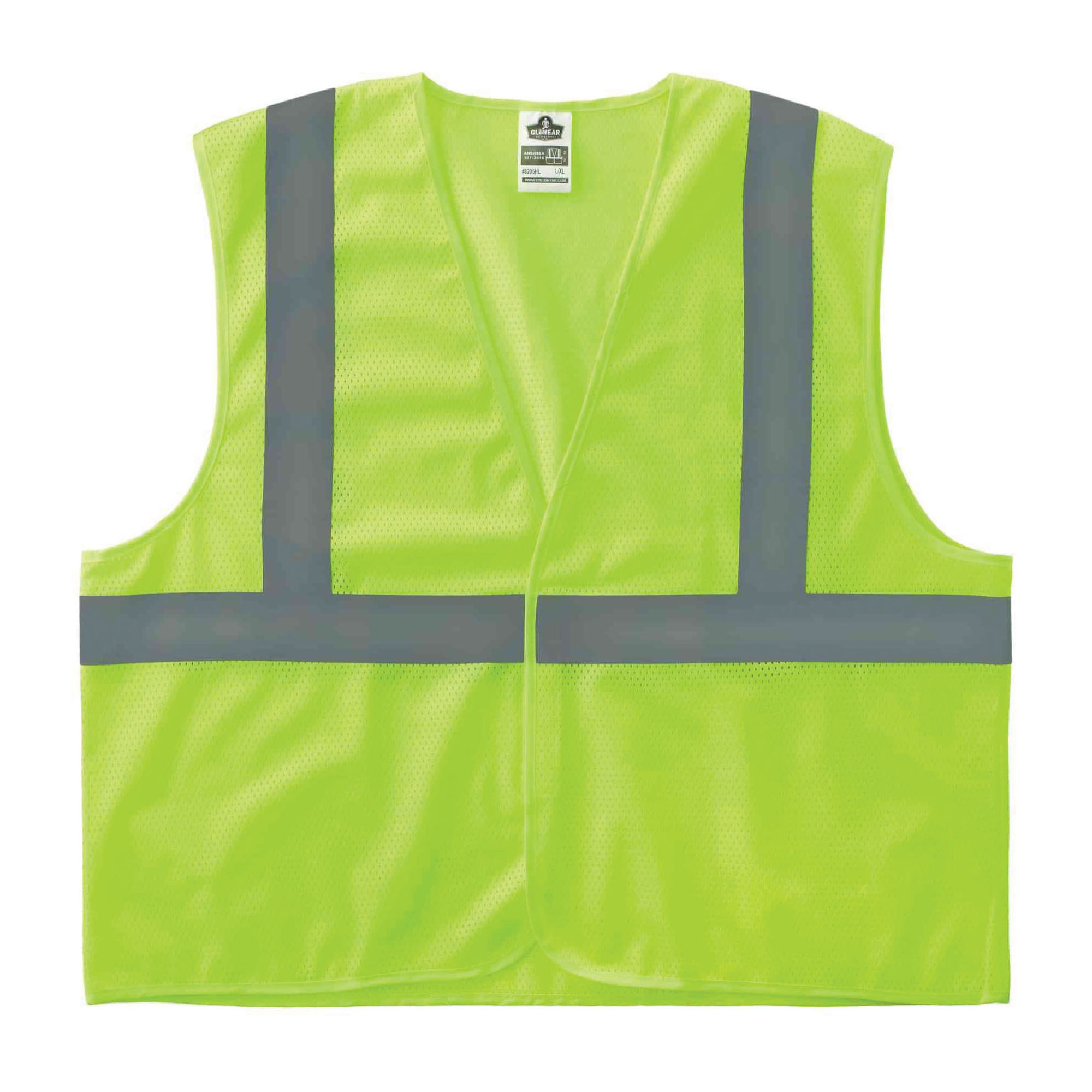 Ergodyne® GloWear® 8205HL Super Econo Vest, Hi-Viz Orange, Polyester Mesh, Hook and Loop Closure, ANSI Class: Class 2, Specifications Met: ANSI/ISEA 107-2015 Type R, Lime or Orange, Various Sizes