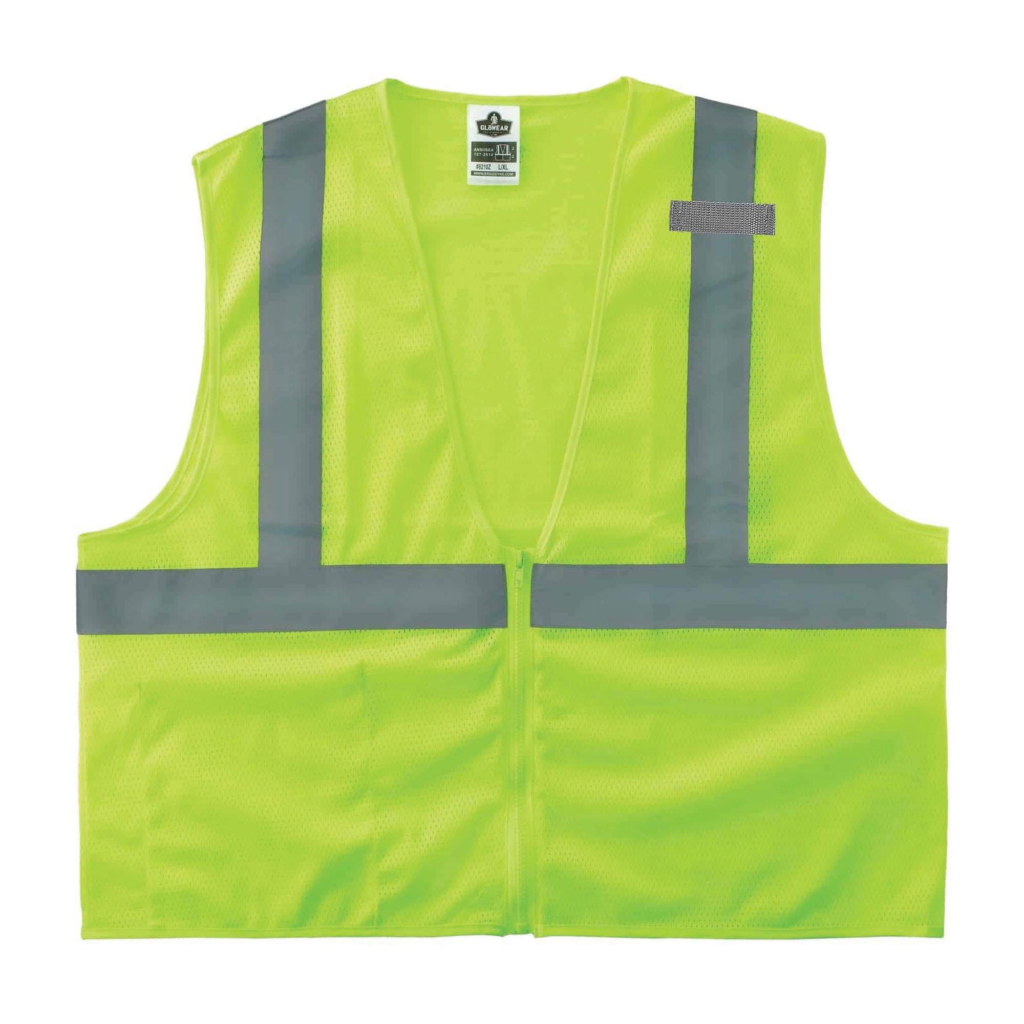 Ergodyne® GloWear® 8210Z Economy Standard Vest, Hi-Viz Orange, Polyester Mesh, Zipper Closure, 1 Pockets, ANSI Class: Class 2, Specifications Met: ANSI/ISEA 107-2015 Type R, Lime or Orange, Various Sizes