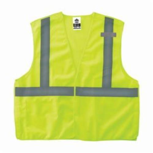 GloWear® 21073 8215BA Econo Style Break-Away Safety Vest, S to M, Hi-Viz Lime, Polyester Mesh, Hook and Loop Closure, 1 Pockets, ANSI Class: Class 2, ANSI/ISEA 107-2015 Type R