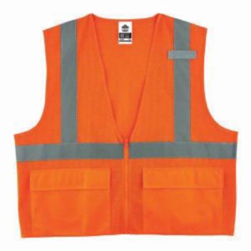 GloWear® 8220Z Standard Vest, Hi-Viz Orange, Polyester Mesh, Zipper Closure, 3 Pockets, ANSI Class: Class 2, Specifications Met: ANSI/ISEA 107-2015 Type R