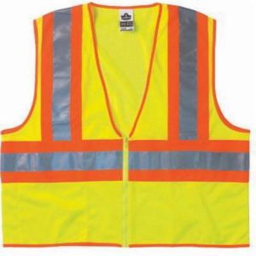 GloWear®  8229Z 2-Tone Economy Safety Vest, Hi-Viz Lime, Polyester Mesh, Zipper Closure, 1 Pockets, ANSI Class: Class 2, Specifications Met: ANSI/ISEA 107-2015 Type R