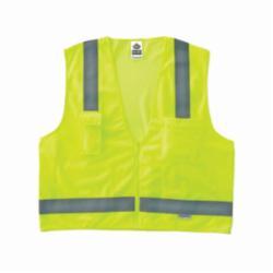 Ergodyne® GloWear® 8250Z Surveyor Safety Vest, Hi-Viz Orange, Polyester Mesh/Solid, Zipper Closure, 5 Pockets, ANSI Class: Class 2, Specifications Met: ANSI/ISEA 107-2015 Type R, Lime or Orange, Various Sizes