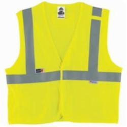 Ergodyne® GloWear® 8260FRHL Flame Resistant Safety Vest, Hi-Viz Lime, Modacrylic Mesh, Hook and Loop Closure, 2 Pockets, ANSI Class: Class 2, Specifications Met: ASTM F1506, ANSI/ISEA 107-2015 Type R