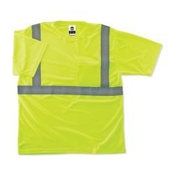 GloWear® 21509 8289 Lightweight T-Shirt, 5XL, Hi-Viz Lime, Bird's Eye Polyester