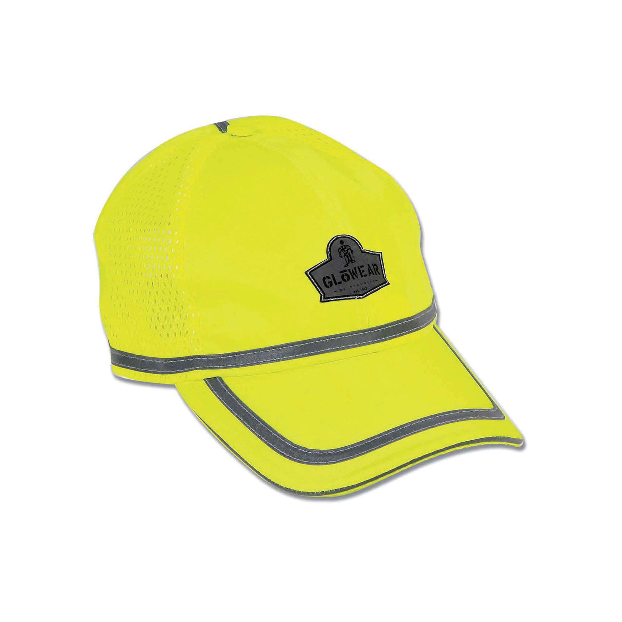 GloWear® 23239 8930 Baseball Cap, Universal, Hi-Viz Lime, 150D Oxford Polyester