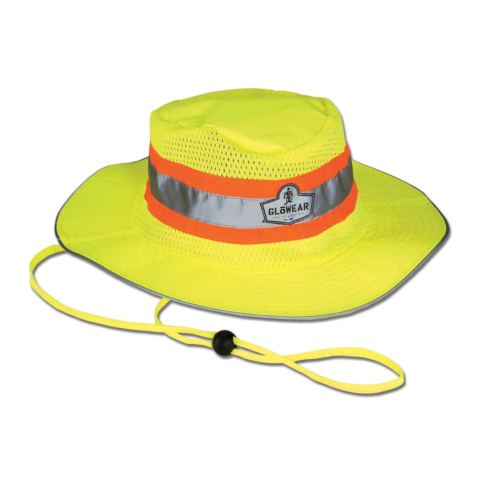 GloWear® 23259 8935 Ranger Hat, S to M, Hi-Viz Lime, 150D Oxford Polyester