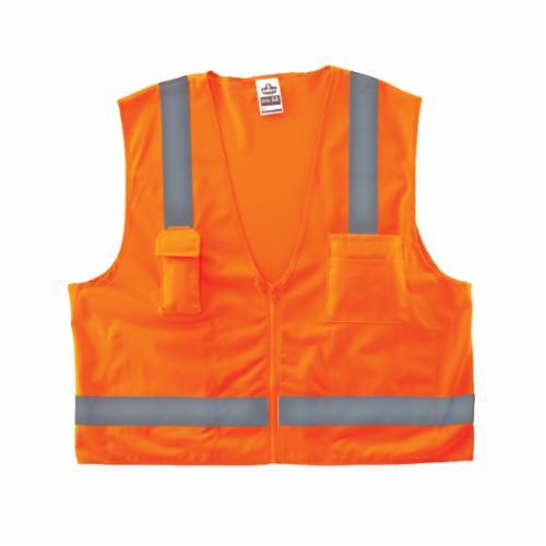 GloWear® 8249Z Economy Surveyor Safety Vest, Hi-Viz Orange, Polyester Mesh/Solid, Zipper Closure, 4 Pockets, ANSI Class: Class 2, ANSI/ISEA 107-2015 Type R