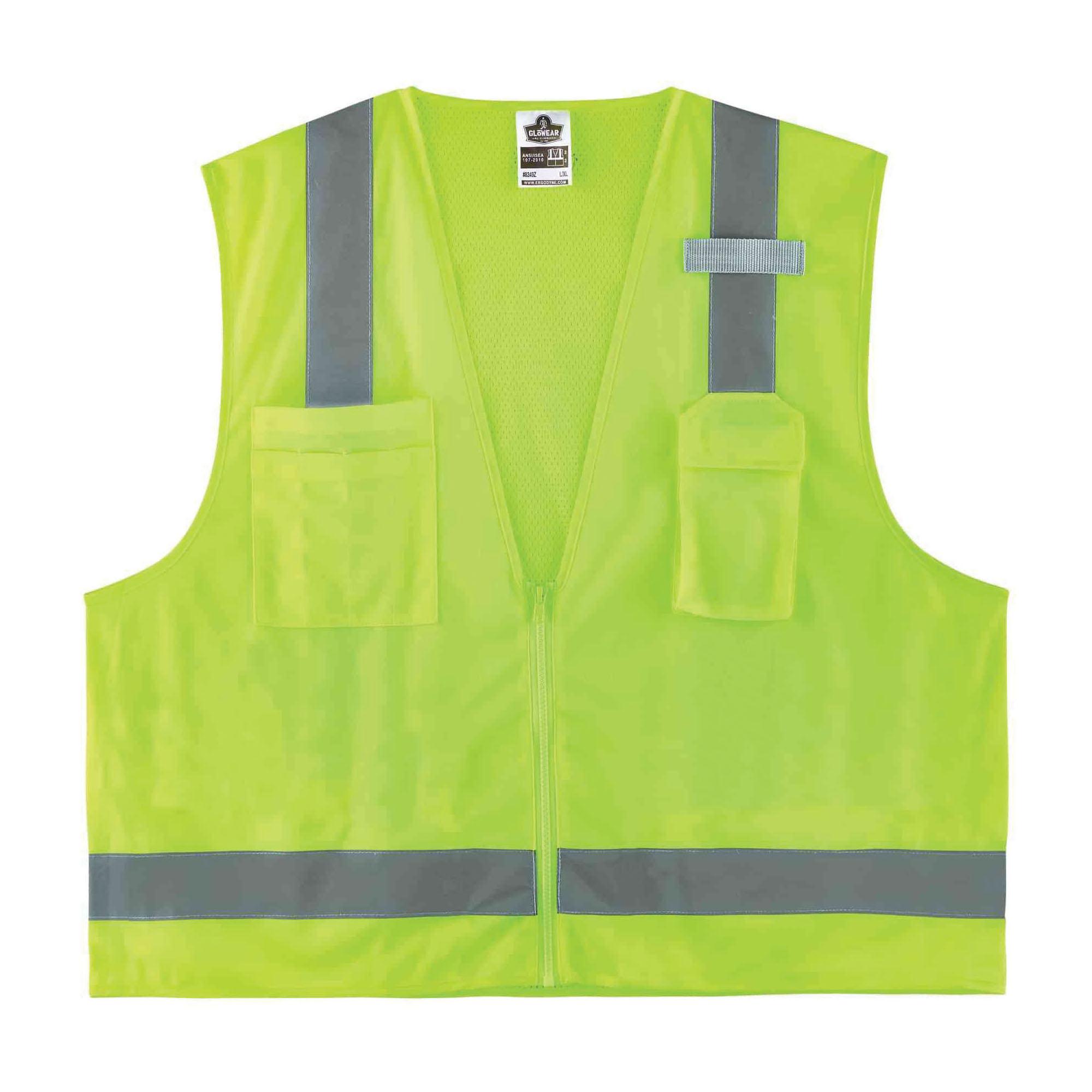 GloWear® 8249Z Economy Surveyor Safety Vest, Hi-Viz Lime, Polyester Mesh/Solid, Zipper Closure, 4 Pockets, ANSI Class: Class 2, ANSI/ISEA 107-2015 Type R