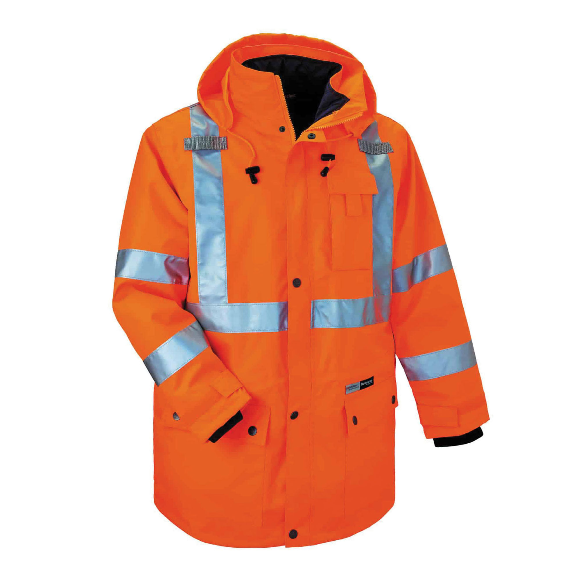 GloWear® 24372 8385 4-in-1 Hooded Insulated Jacket, Black/Hi-Viz Orange, 300D Polyester Oxford/Thinsulate®, 34 to 36 in Chest, Resists: Weather, Specifications Met: ANSI/ISEA 107-2010, Class 3 Type R