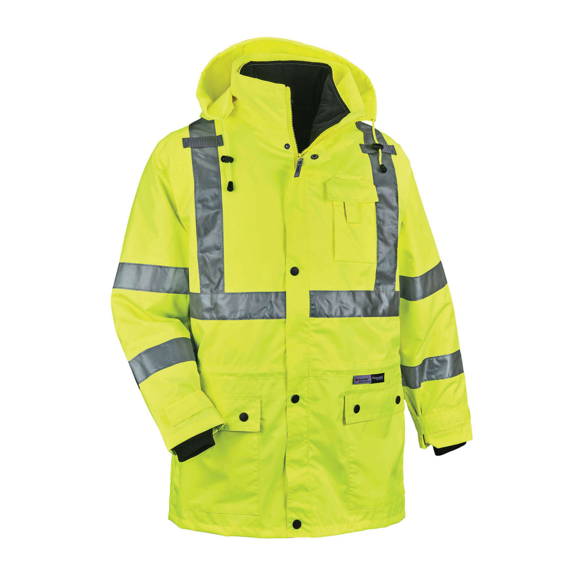 GloWear® 24382 8385 4-in-1 Hooded Insulated Jacket, Black/Hi-Viz Lime, 300D Polyester Oxford/Thinsulate®, 34 to 36 in Chest, Resists: Weather, Specifications Met: ANSI/ISEA 107-2010, Class 3 Type R