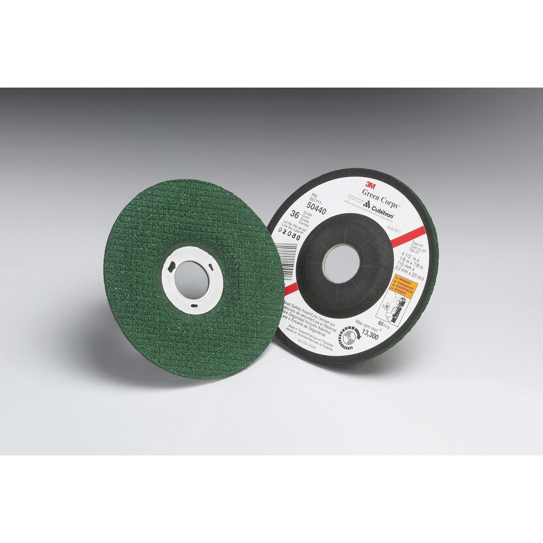 3M™ Green Corps™ 051111-50442 Depressed Center Wheel, 4-1/2 in Dia x 1/8 in THK, 7/8 in Center Hole, 46 Grit, Ceramic Abrasive