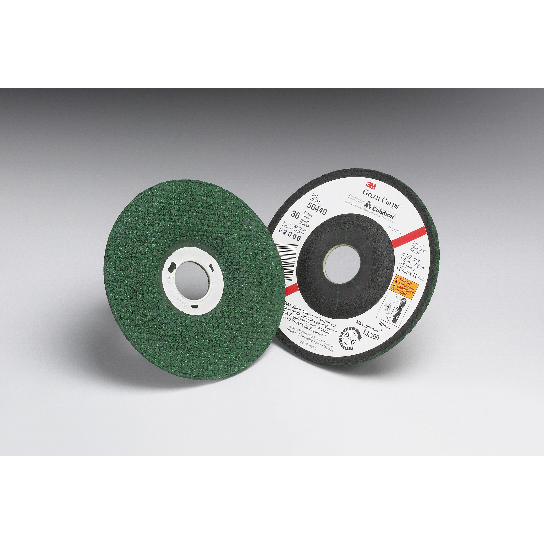 3M™ Green Corps™ 051111-50443 Depressed Center Wheel, 4-1/2 in Dia x 1/8 in THK, 7/8 in Center Hole, 60 Grit, Ceramic Abrasive