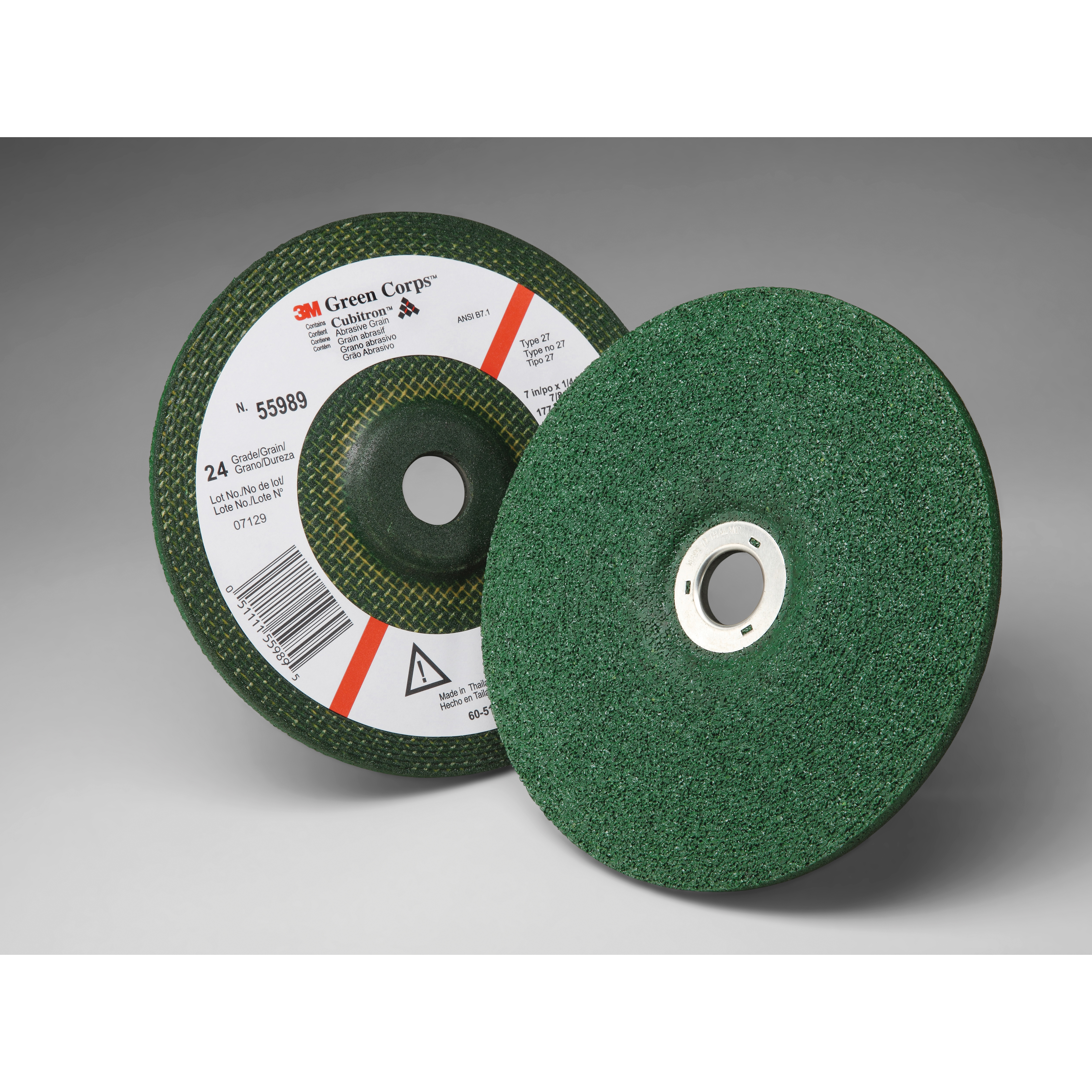 3M™ Green Corps™ 051111-55989 Depressed Center Wheel, 7 in Dia x 1/4 in THK, 7/8 in Center Hole, 24 Grit, Ceramic Abrasive