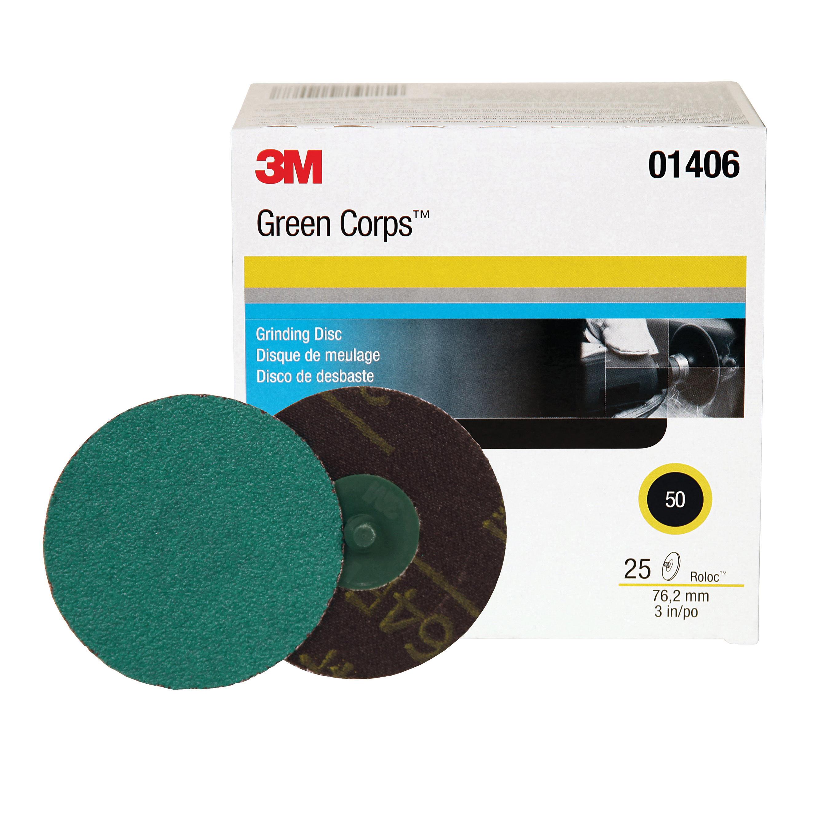 3M™ Green Corps™ Roloc™ 051131-01406 264F Quick-Change Coated Abrasive Disc, 3 in Dia Disc, 50 Grit, Coarse Grade, Aluminum Oxide Abrasive, Roloc™ Attachment