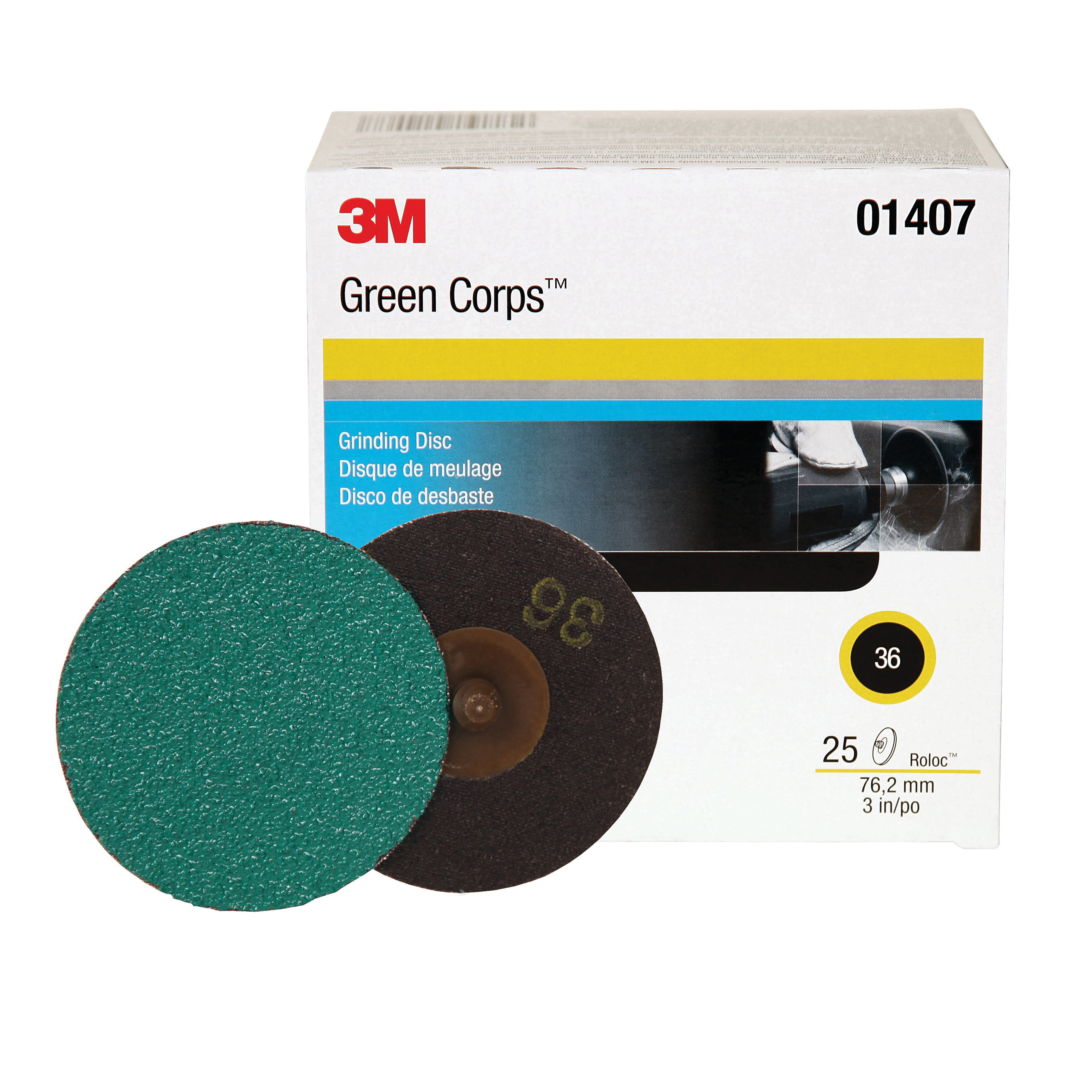 3M™ Green Corps™ Roloc™ 051131-01407 264F Quick-Change Coated Abrasive Disc, 3 in Dia Disc, 36 Grit, Extra Coarse Grade, Aluminum Oxide Abrasive, Roloc™ Attachment