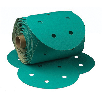 3M™ Green Corps™ Stikit™ 051131-01566 Dust-Free Open Coated PSA Abrasive Disc Roll, 6 in Dia Disc, 80 Grit, Coarse Grade, Aluminum Oxide Abrasive, Paper Backing