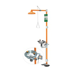 Guardian G1902HFC Combination Eyewash and Shower Safety Unit, Stainless Steel Eyewash Bowl, ABS Plastic Shower Head, Floor Mounting, Pull Rod Handle/Foot Control Operation, Specifications Met: ANSI Z358.1-2014, cUPC 8116