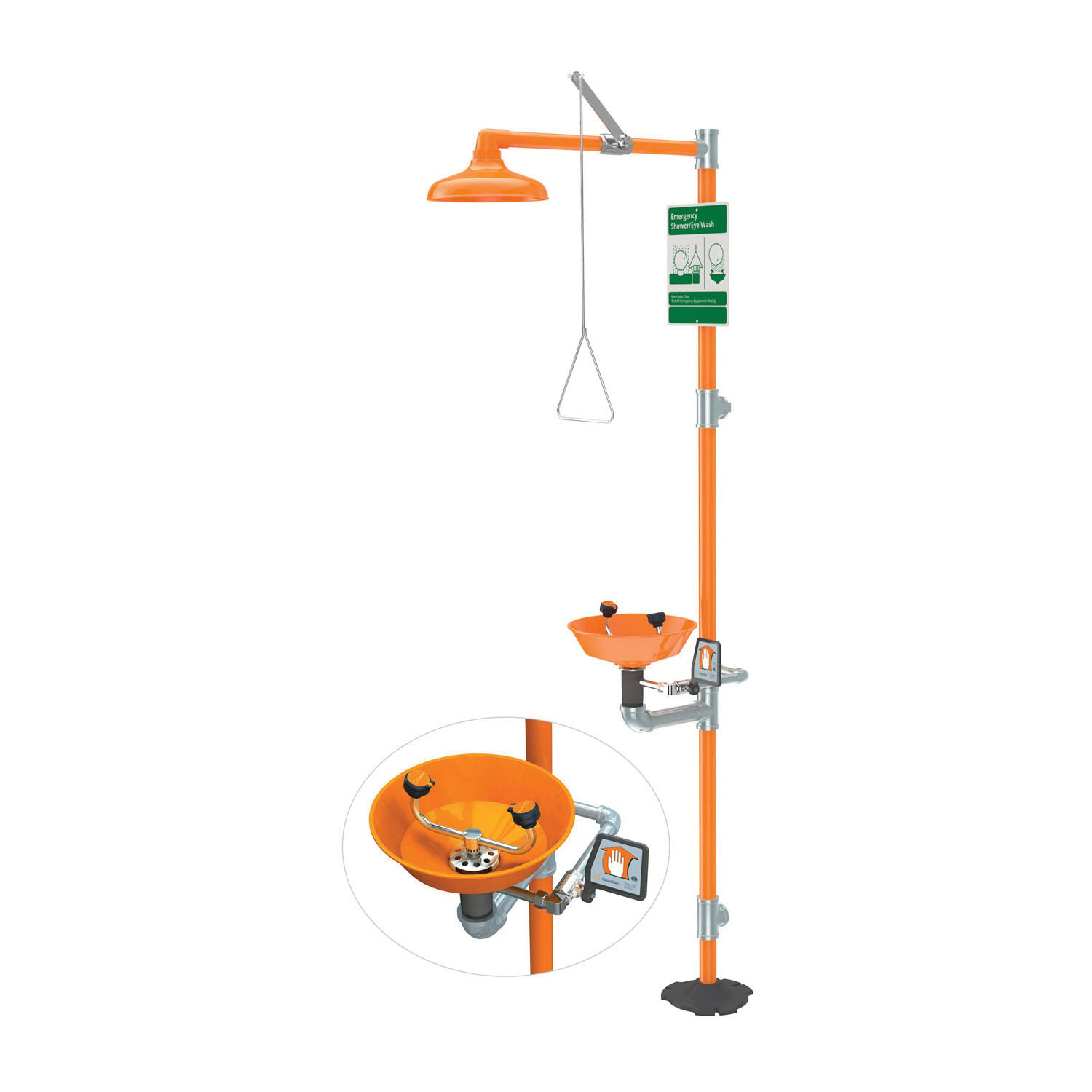Guardian G1902P Combination Eyewash and Shower Safety Unit, ABS Plastic Eyewash Bowl, ABS Plastic Shower Head, Floor Mounting, Pull Rod Handle Operation, Specifications Met: ANSI Z358.1-2014, cUPC 8116