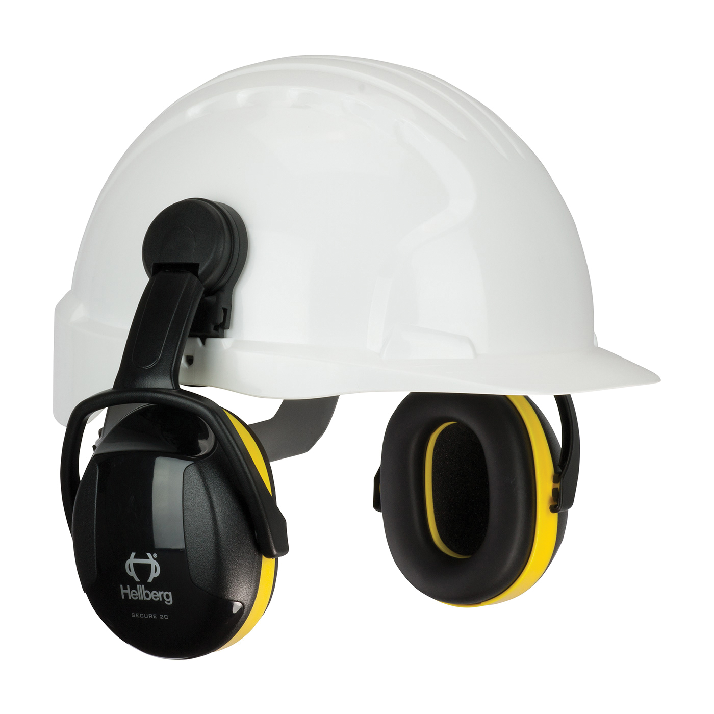 Hellberg® 263-42002 Secure™ 2 Cap Mount Passive Earmuffs, 24 dB Noise Reduction, Black/Yellow, ANSI S3.19-1974, CE Certified
