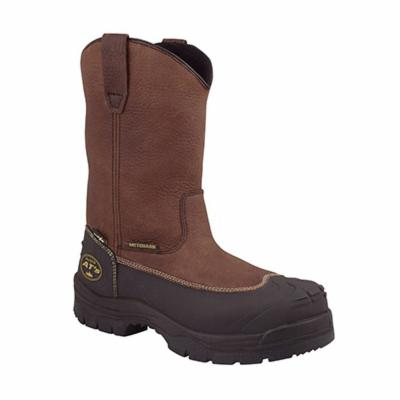 Oliver by Honeywell 65396-BRN-110 Non-Insulated Work Boots, Unisex, SZ 11, 10 in H, Steel Toe, SPR Leather Upper, Rubber Outsole, Resists: Abrasion, Cut, Slip and Water, ASTM F2413-11 M I/75 C/75 Mt/75 PR EH