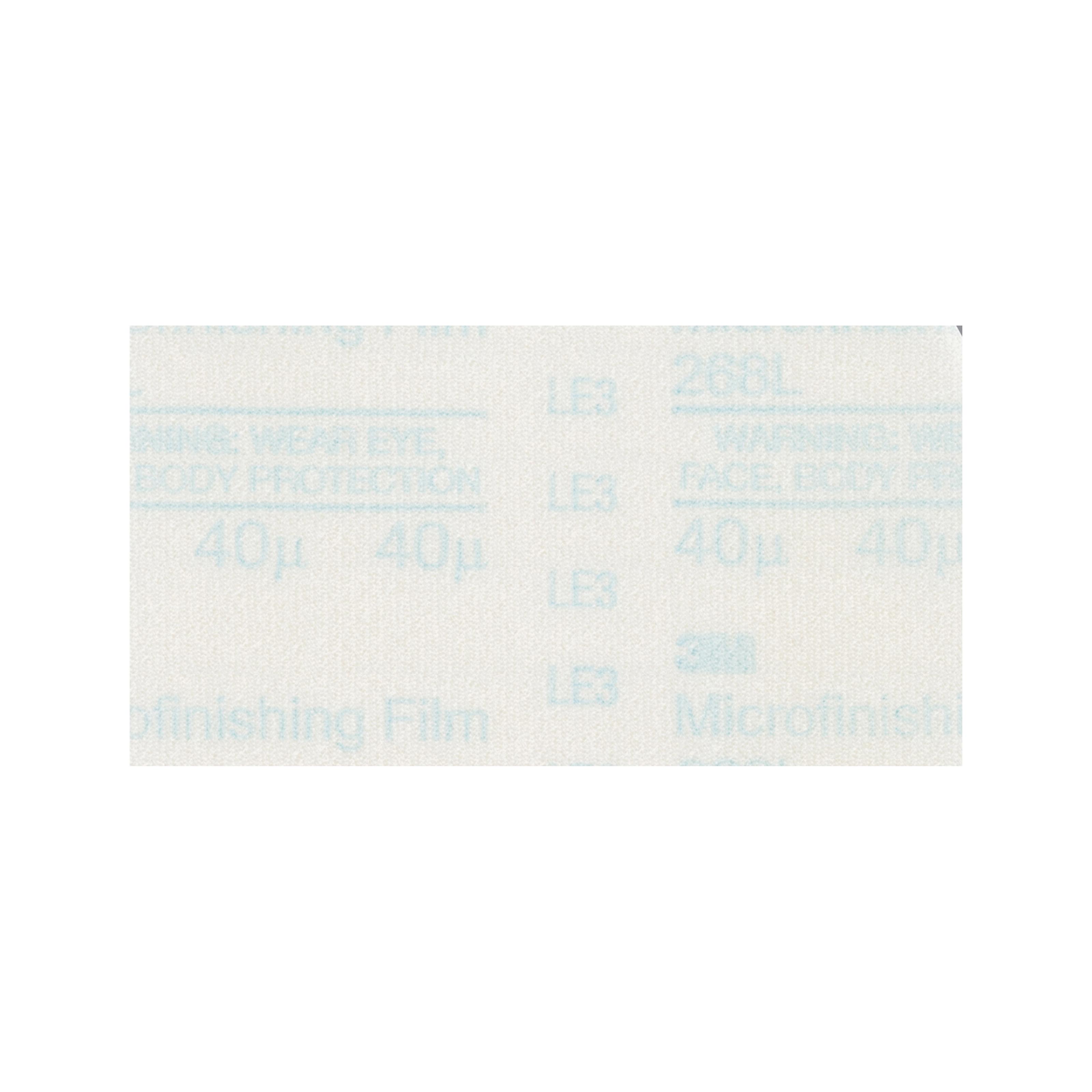 3M™ Hookit™ 051111-50132 268L Type D PSA Microfinishing Sheet, 14 in L x 12 in W, 60 micron Grit, Very Fine Grade, Aluminum Oxide Abrasive, 3 mil Polyester Film Backing