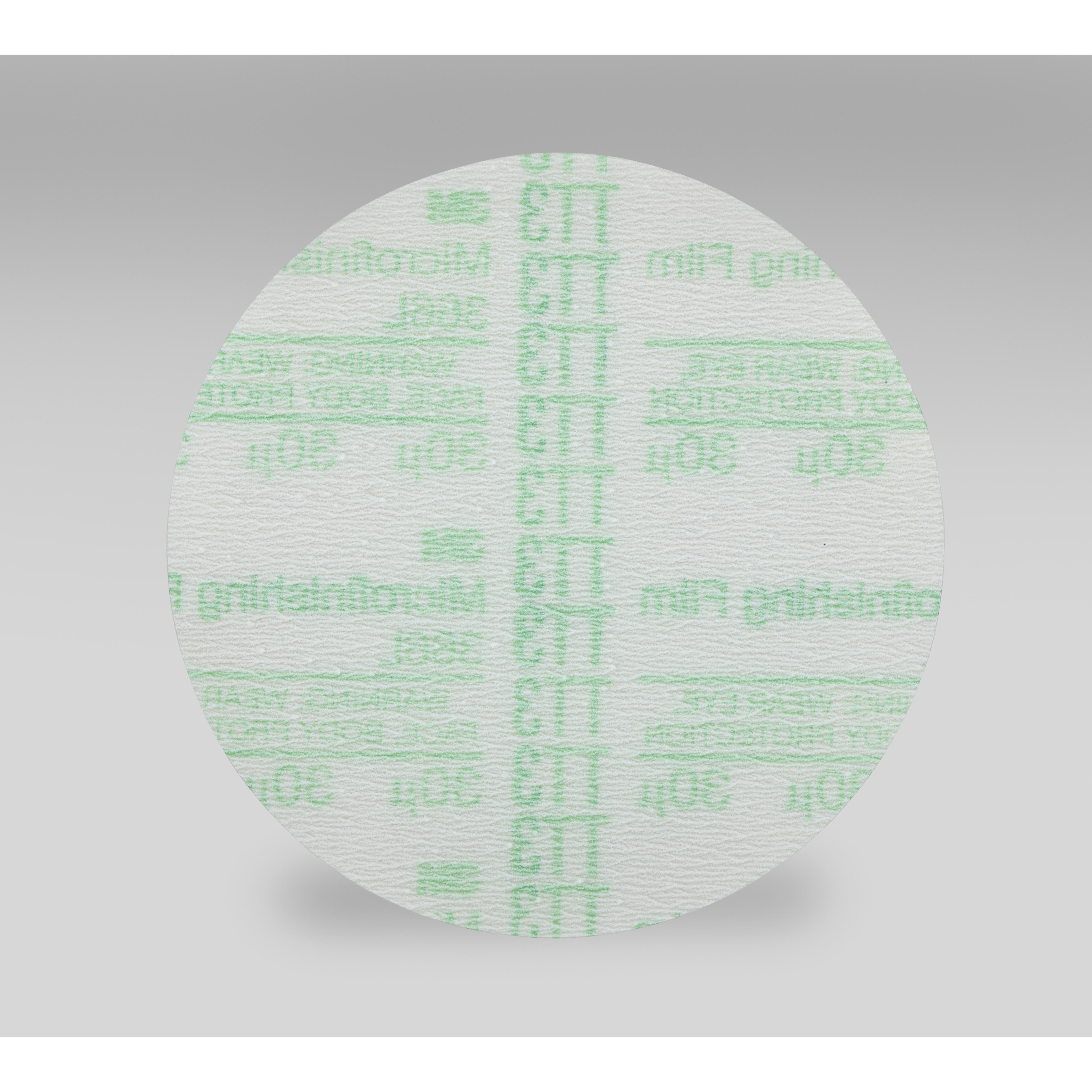 3M™ Hookit™ 051111-53827 366L Microfinishing Abrasive Disc, 3 in Dia Disc, 30 micron Grit, Extra Fine Grade, Aluminum Oxide Abrasive, Polyester Film Backing