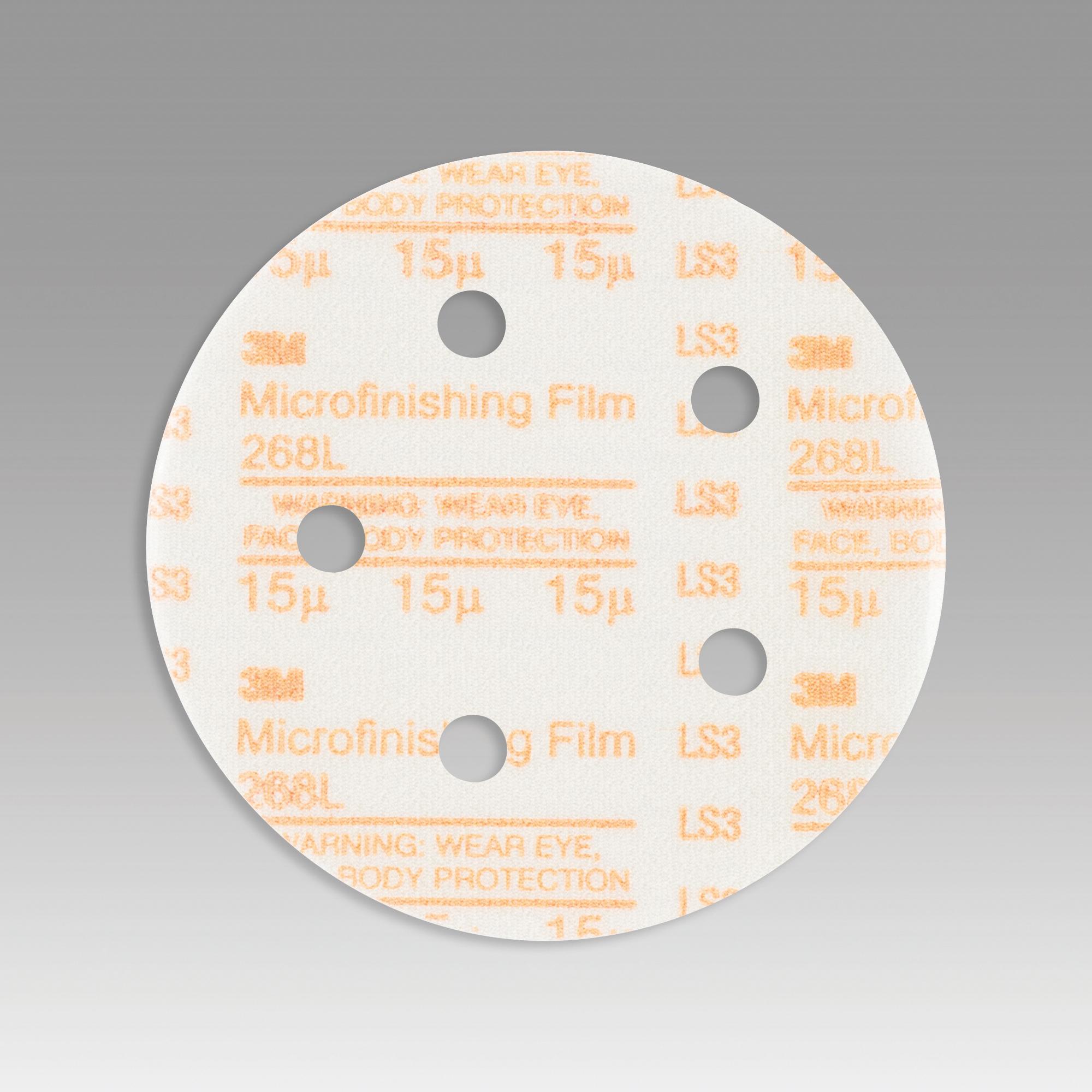 3M™ Hookit™ 051111-54539 268L Type D Microfinishing Orbital Sanding Disc, 5 in Dia Disc, 15 micron Grit, Super Fine Grade, Aluminum Oxide Abrasive, Polyester Film Backing