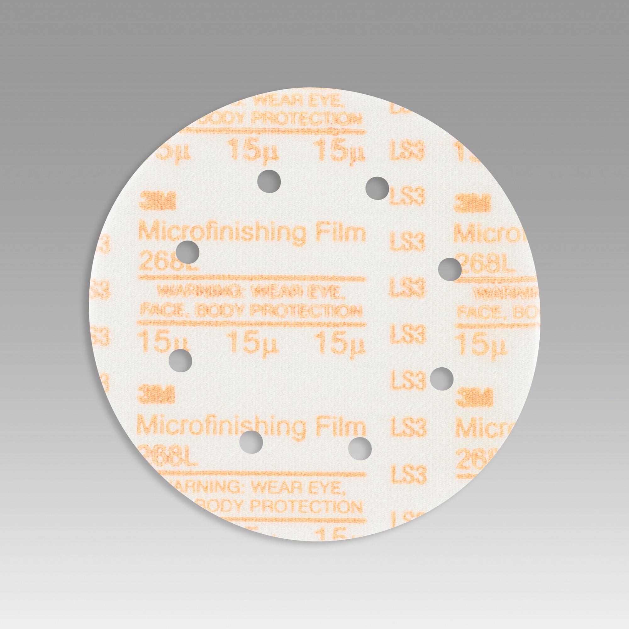 3M™ Hookit™ 051111-54552 268L Type D Microfinishing Orbital Sanding Disc, 6 in Dia Disc, 15 micron Grit, Super Fine Grade, Aluminum Oxide Abrasive, Polyester Film Backing