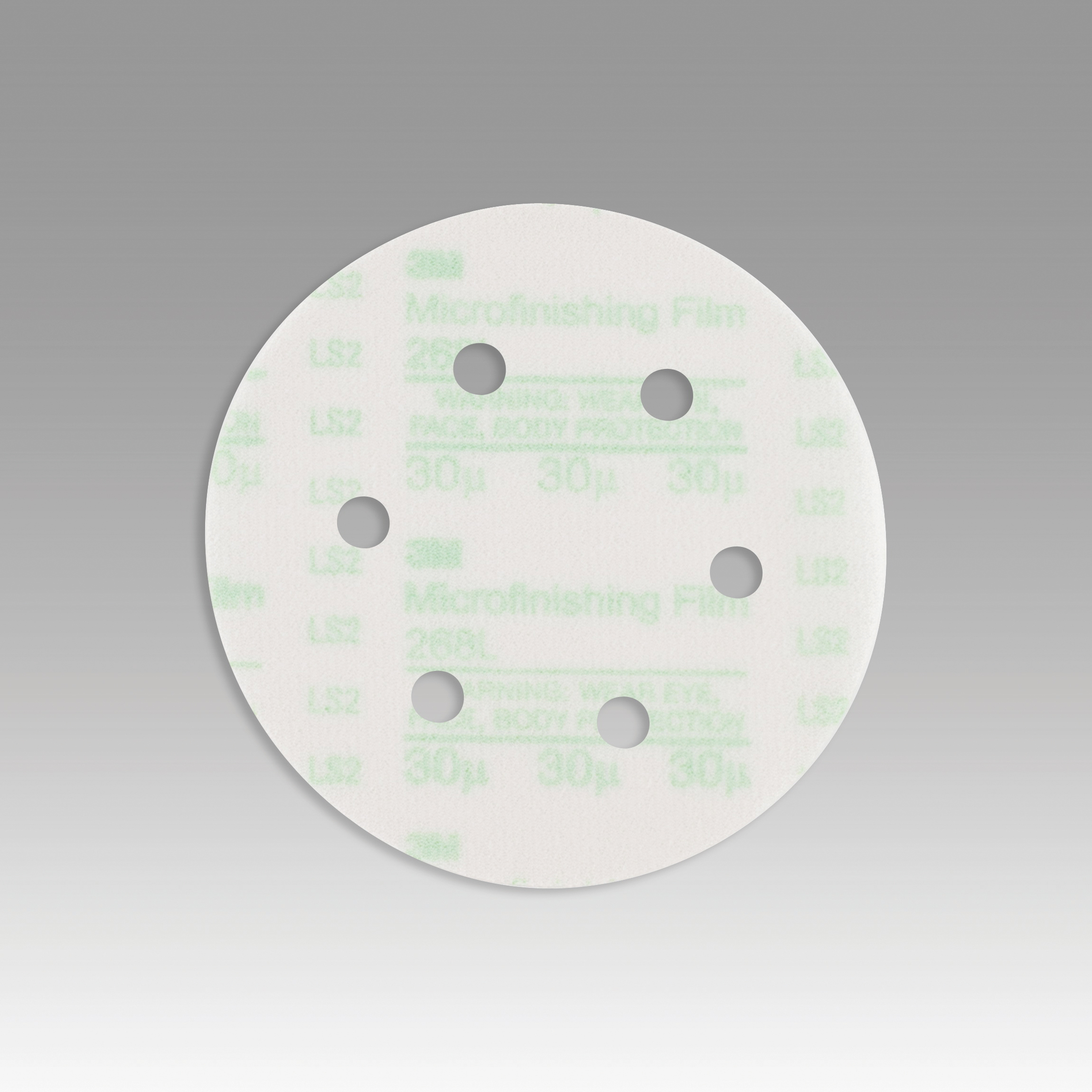 3M™ Hookit™ 051111-54554 268L Type D Microfinishing Orbital Sanding Disc, 6 in Dia Disc, 30 micron Grit, Extra Fine Grade, Aluminum Oxide Abrasive, Polyester Film Backing