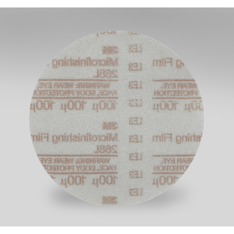 3M™ Hookit™ 051111-54566 268L Type D Microfinishing Orbital Sanding Disc, 6 in Dia Disc, 100 micron Grit, Very Fine Grade, Aluminum Oxide Abrasive, Polyester Film Backing