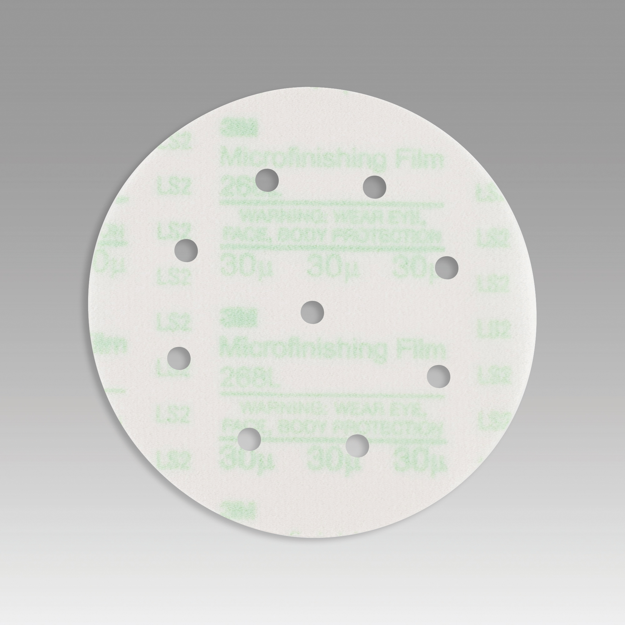3M™ Hookit™ 051111-54567 268L Type D Microfinishing Orbital Sanding Disc, 6 in Dia Disc, 30 micron Grit, Extra Fine Grade, Aluminum Oxide Abrasive, Polyester Film Backing