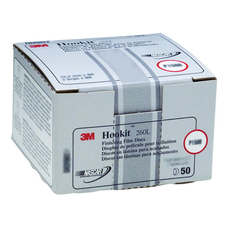 3M™ Hookit™ 051131-00908 260L Abrasive Disc, 3 in Dia Disc, P1200 Grit, Super Fine Grade, Aluminum Oxide Abrasive, Film Backing
