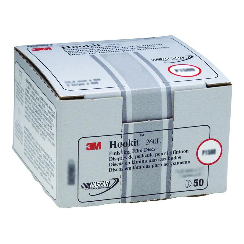 3M™ Hookit™ 051131-00911 260L Abrasive Disc, 3 in Dia Disc, P600 Grit, Extra Fine Grade, Aluminum Oxide Abrasive, Film Backing