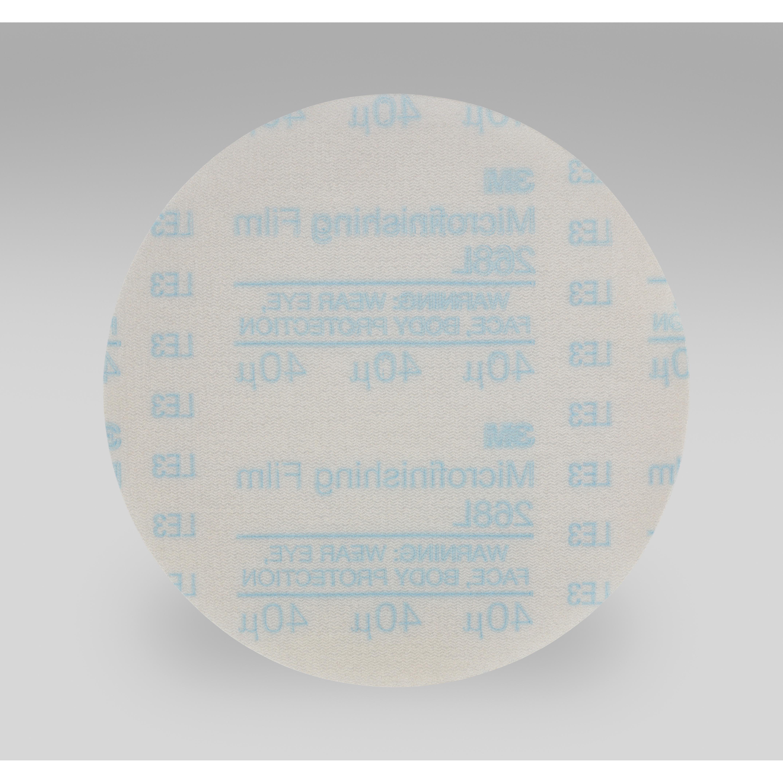 3M™ Hookit™ 051144-81921 268L Type D Microfinishing Orbital Sanding Disc, 5 in Dia Disc, 40 micron Grit, Extra Fine Grade, Aluminum Oxide Abrasive, Polyester Film Backing