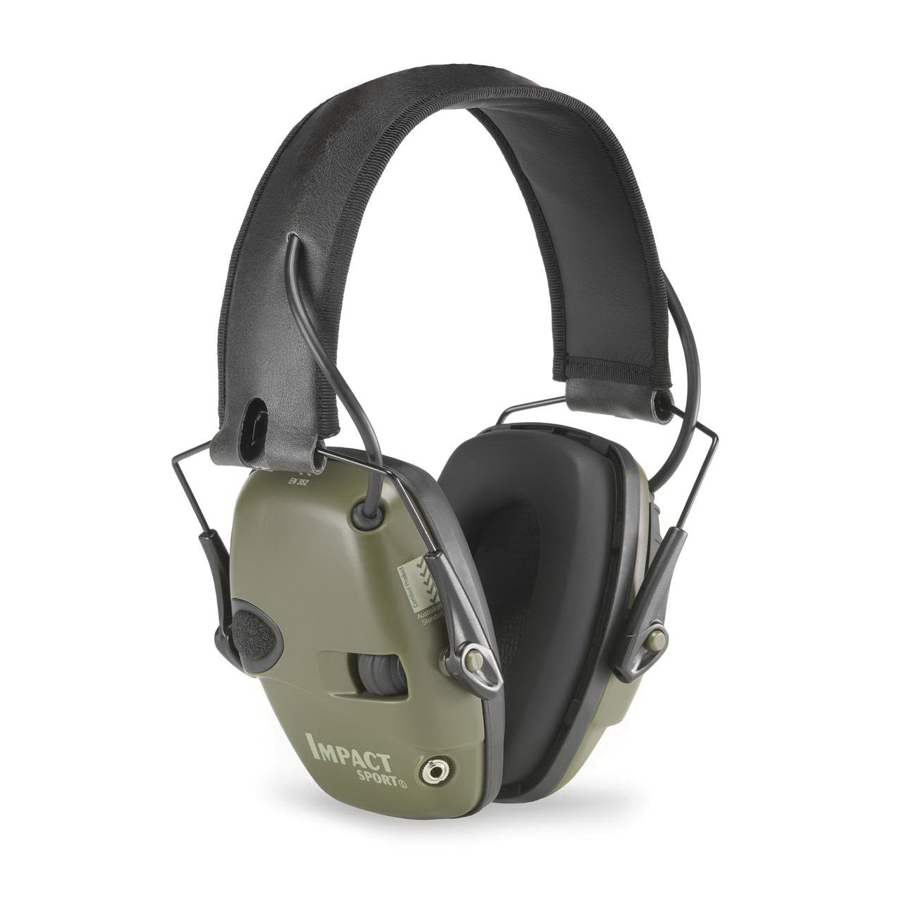 Howard Leight by Honeywell R-01526 Impact® Sport Earmuffs, 22 dB Noise Reduction, Green, Folding Band Position, ANSI S3.19-1974