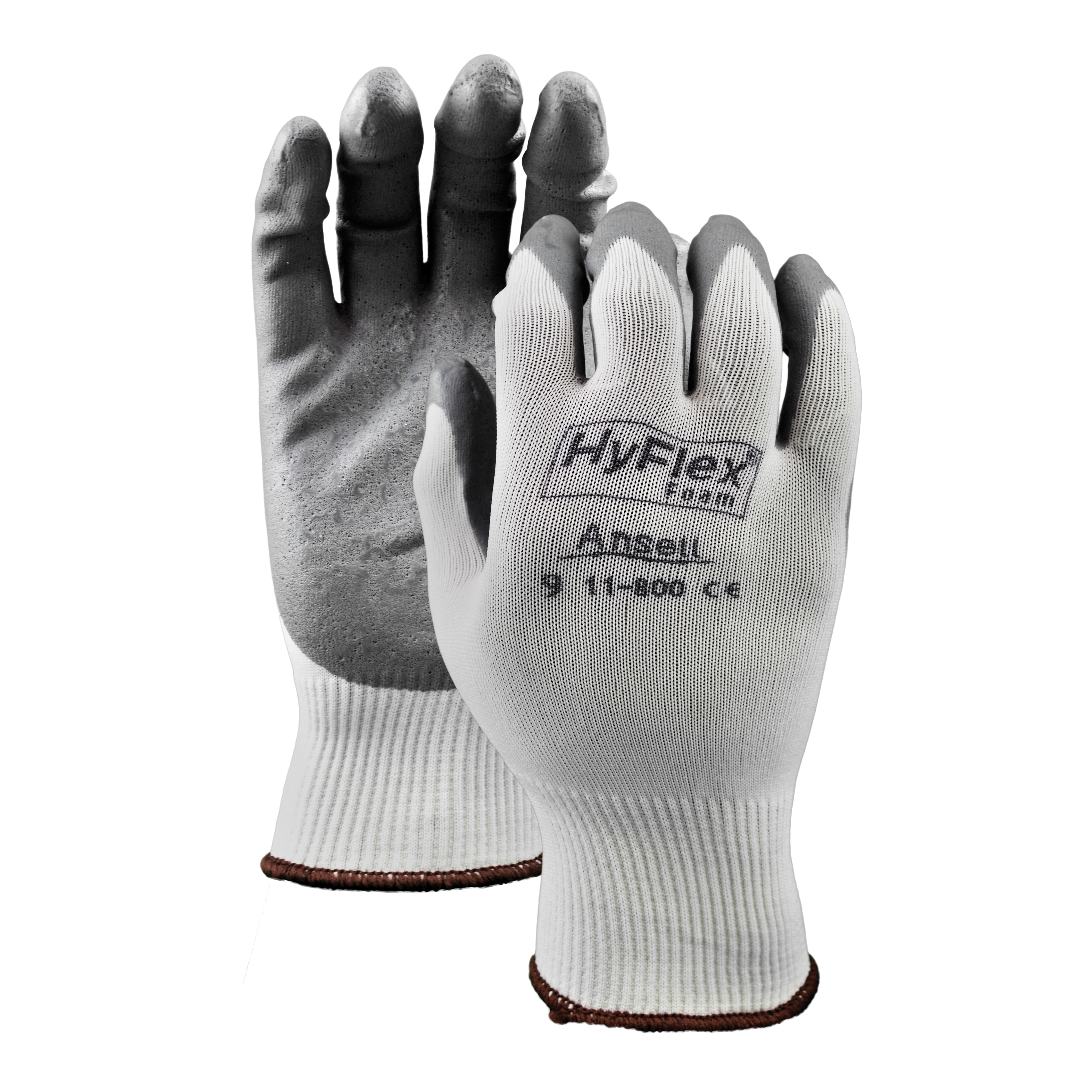 Ansell HyFlex® 11800-09 Light Duty General Purpose Gloves, Coated/Multi-Purpose, SZ 9, Foam Nitrile Palm, Nylon Knit Shell, Gray/White, Knit Wrist Cuff, Foam Nitrile Coating, Resists: Abrasion and Puncture, 15 ga Nylon Lining, Open Back