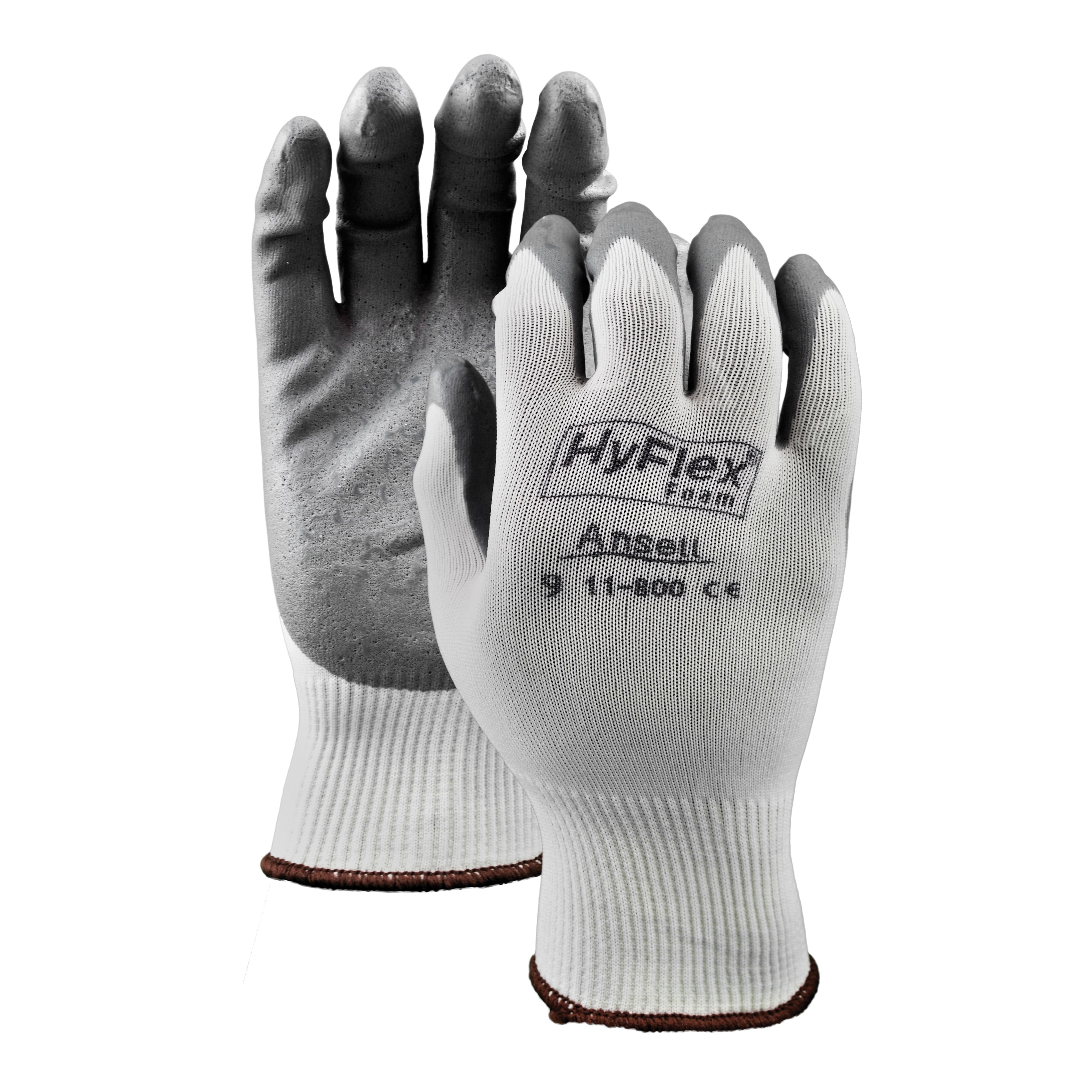 Ansell HyFlex® 11800-09 Light Duty General Purpose Gloves, Coated/Multi-Purpose, SZ 9, Foam Nitrile Palm, Nylon Knit Shell, Gray/White, Knit Wrist Cuff, Foam Nitrile Coating, Resists: Abrasion and Puncture, 15 ga Nylon Lining, Open Back