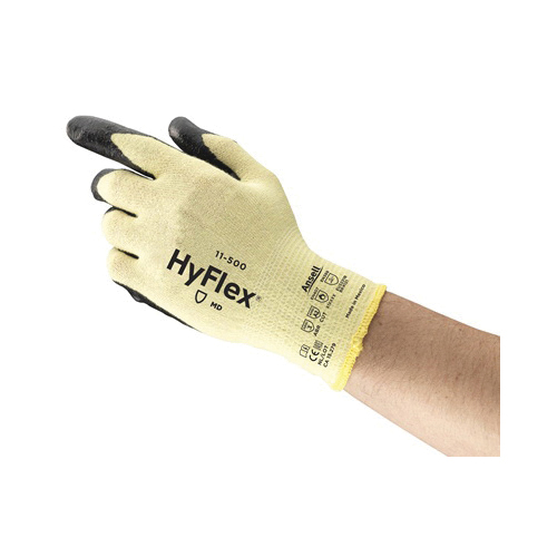 Ansell HyFlex® 205578 11-500 Medium Duty Cut Resistant Gloves, SZ 10, Foam Nitrile Coating, DuPont™ Kevlar®/Lycra®/Nylon, Knit Wrist Cuff, Resists: Abrasion, Cut and Puncture, ANSI Cut-Resistance Level: A2, ANSI Puncture-Resistance Level: 3, Ambidextrous Hand