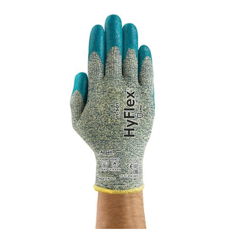 Ansell HyFlex® 205655 11-501 Medium Duty Cut Resistant Gloves, XS/SZ 6, Foam Nitrile Coating, DuPont™ Kevlar®/Lycra®/Intercept Technology®, Knit Wrist Cuff, Resists: Abrasion, Cut and Puncture, ANSI Cut-Resistance Level: A5, ANSI Puncture-Resistance Level: 3