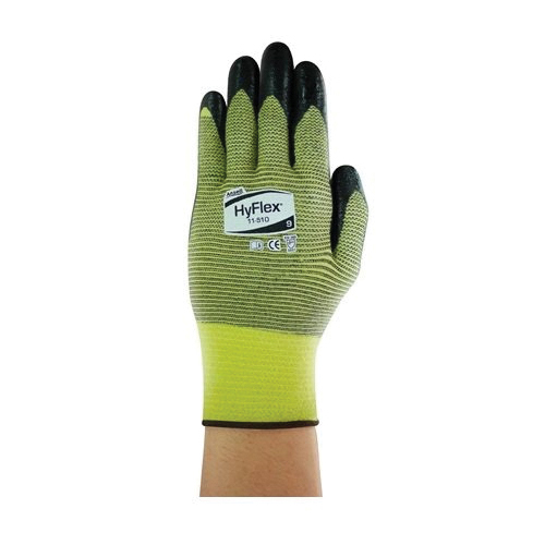 Ansell HyFlex® 205748 11-510 Light Duty Cut Resistant Gloves, 2XL/SZ 11, Foam Nitrile Coating, DuPont™ Kevlar®/Lycra®/Nylon, Knit Wrist Cuff, Resists: Abrasion, Cut and Oil, ANSI Cut-Resistance Level: A2, ANSI Puncture-Resistance Level: 3, Ambidextrous Hand