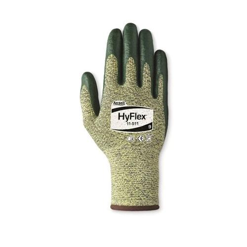 Ansell HyFlex® 205753 11-511 Medium Duty Cut Resistant Gloves, SZ 10, Foam Nitrile Coating, DuPont™ Kevlar®/Spandex®, Knit Wrist Cuff, Resists: Abrasion and Cut, ANSI Cut-Resistance Level: A4, ANSI Puncture-Resistance Level: 4, Ambidextrous Hand