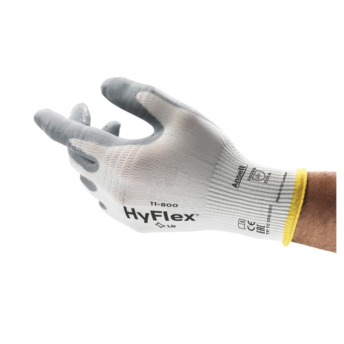 Ansell HyFlex® 205573 11-800 Light Duty General Purpose Gloves, Coated/Multi-Purpose, SZ 10, Foam Nitrile Palm, Nylon Knit Shell, Gray/White, Knit Wrist Cuff, Foam Nitrile Coating, Resists: Abrasion and Puncture, 15 ga Nylon Lining, Open Back