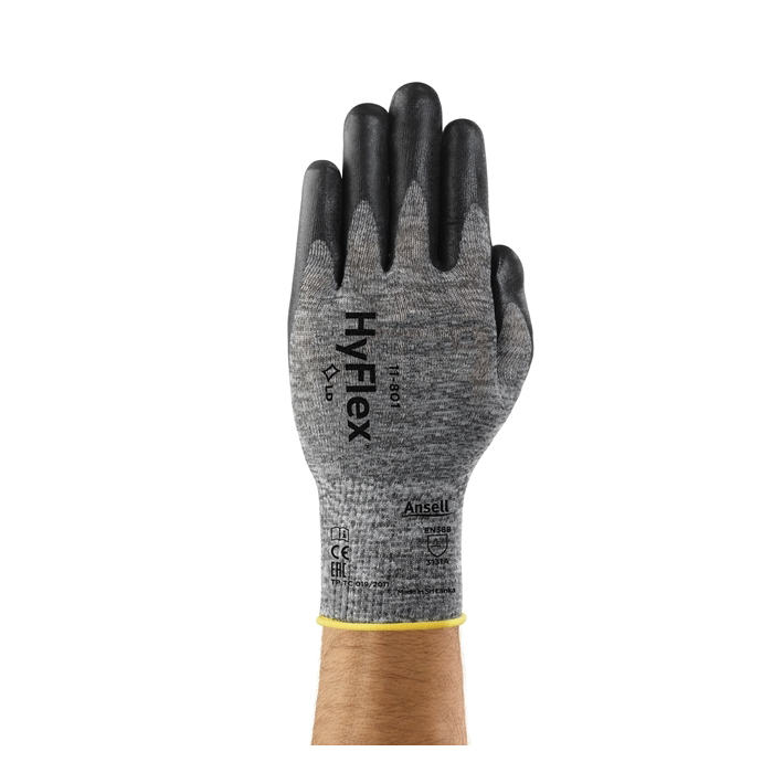 Ansell HyFlex® 205675 11-801 Light Duty General Purpose Gloves, Coated/Multi-Purpose, SZ 9, Foam Nitrile Palm, Black/Gray, Knit Wrist Cuff, Foam Nitrile Coating, Resists: Abrasion, 15 ga Nylon Lining, Full Finger/Full Thumb