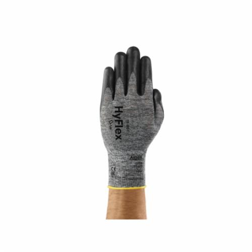 Ansell HyFlex® 205676 11-801 Light Duty General Purpose Gloves, Coated/Multi-Purpose, SZ 10, Foam Nitrile Palm, Black/Gray, Knit Wrist Cuff, Foam Nitrile Coating, Resists: Abrasion, 15 ga Nylon Lining, Full Finger/Full Thumb