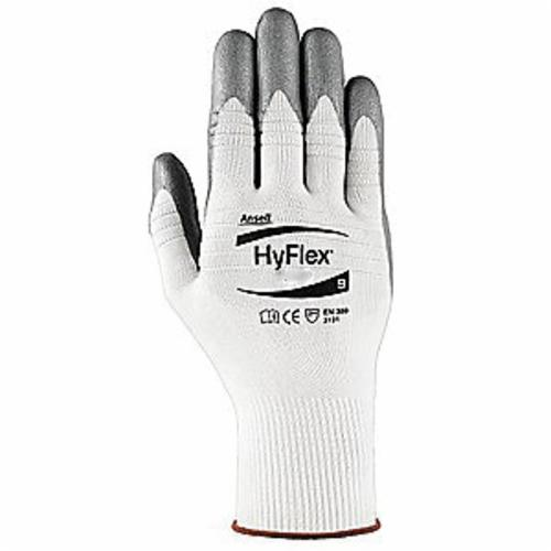 Ansell HyFlex® 11-830-9 Light Duty General Purpose Gloves, Coated/Multi-Purpose, Full Finger Style, SZ 9, Foam Nitrile Palm, Metallic Gray/White, Knit Wrist Cuff, Foam Nitrile Coating, Resists: Abrasion, Cut and Puncture, Nylon Lining
