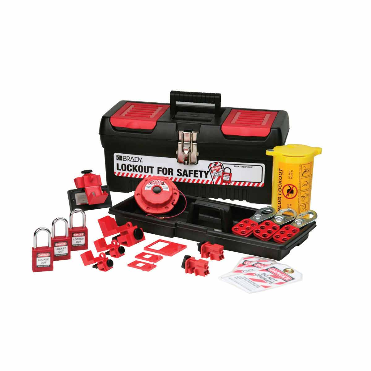 Brady® 105961 Electrical Risk Portable Lockout Kit, Filled, 18 Pieces, 7.8 in H x 16.2 in W x 7.3 in D, Language: English